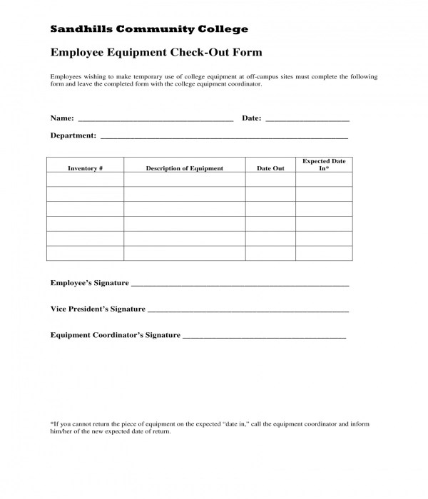8+ Equipment Checkout Forms - PDF, DOC