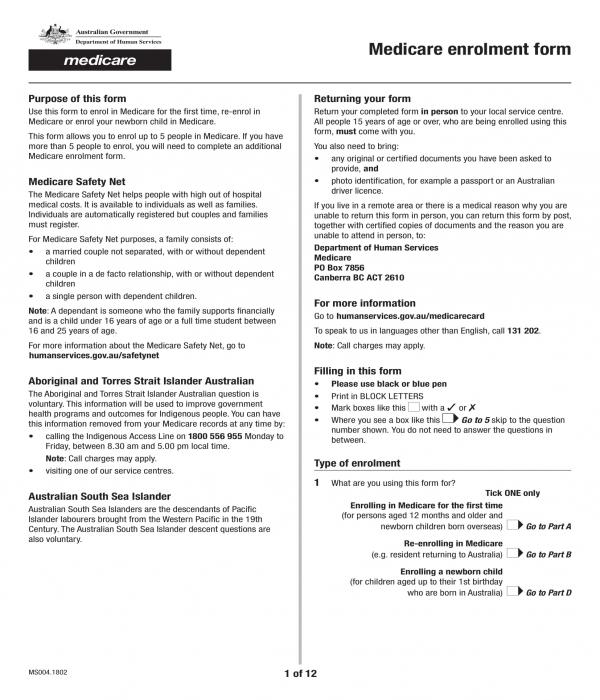 Medicare Application Form  Medicare Application Form, Medicare