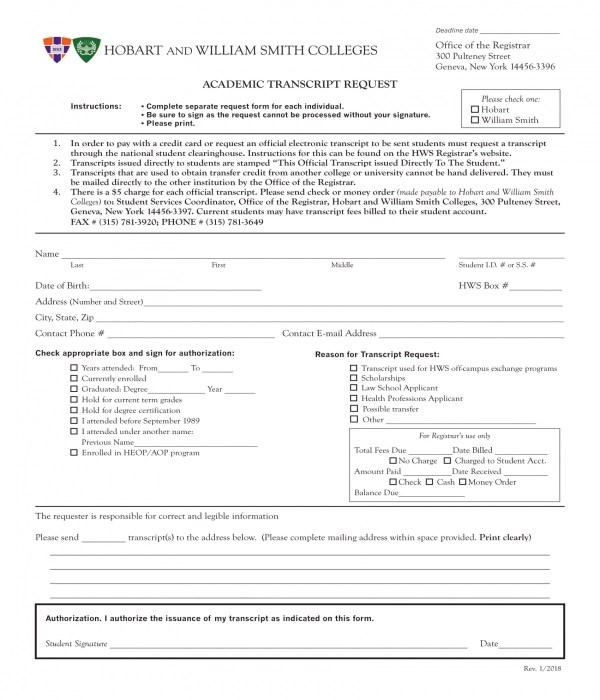 5+ Transcript Request Forms - PDF