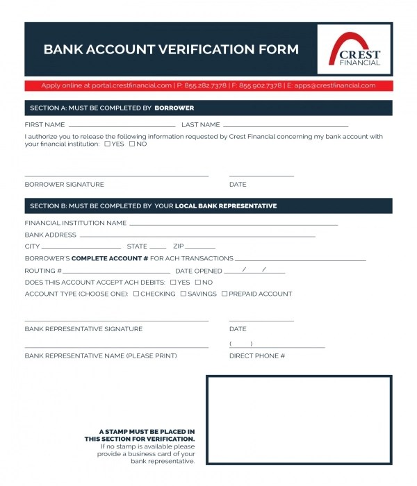 8+ Bank Verification Forms - PDF - bank account forms