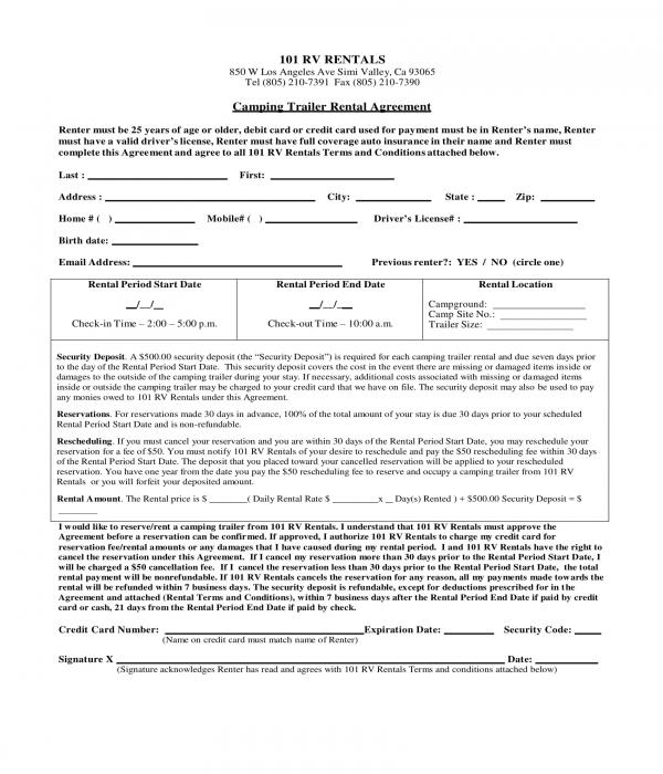 ... Beaufiful Trailer Rental Agreement Template Images \u003e\u003e Truck Rental  RV ...