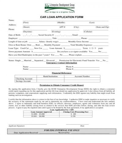 3+ Car Loan Application Forms - PDF