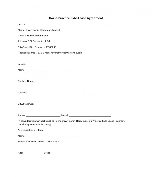3+ Horse Lease Agreement Forms - PDF - sample horse lease agreement
