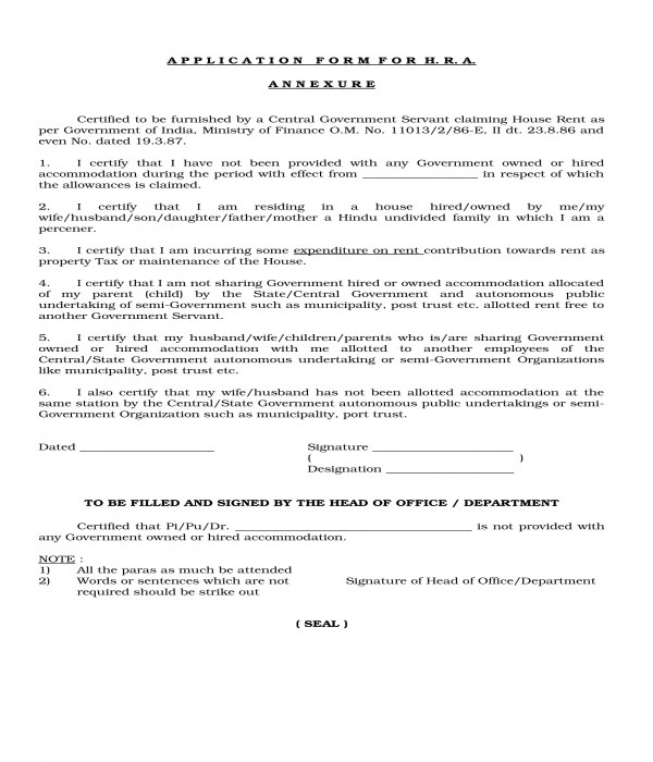 4+ House Rent Allowance Forms - PDF, DOC