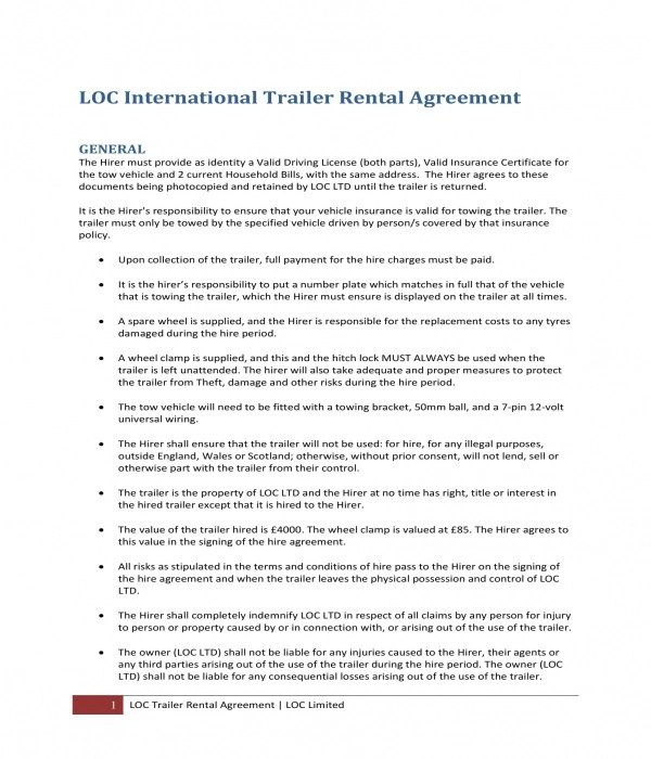 10+ Trailer Rental Agreement Forms - PDF, DOC