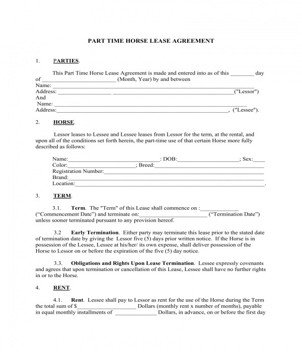 3+ Horse Lease Agreement Forms - PDF