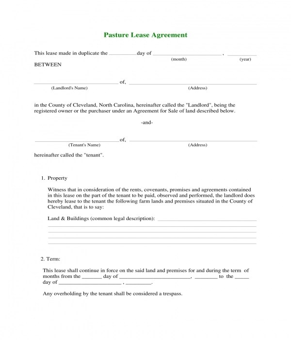4+ Pasture Lease Agreement Forms - PDF, DOC - Sample Pasture Lease Agreement Template