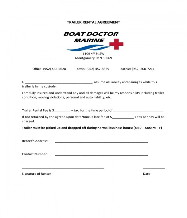 10+ Trailer Rental Agreement Forms - PDF, DOC