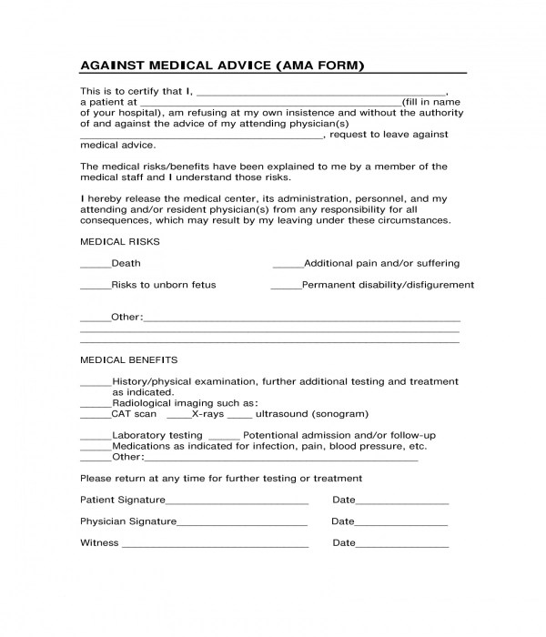 3+ Against Medical Advice Forms - PDF