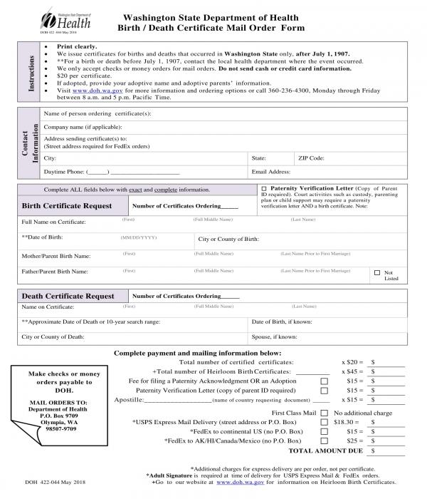 5+ Death Certificate Forms - PDF