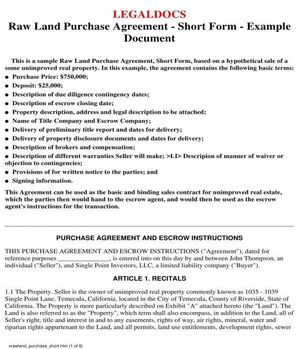 3+ Land Purchase Agreement Forms - PDF