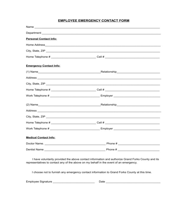 3+ Employee Contact Form