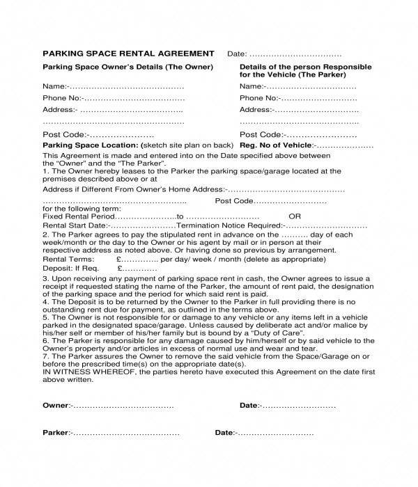 3+ Parking Space Rental Agreement Forms - PDF