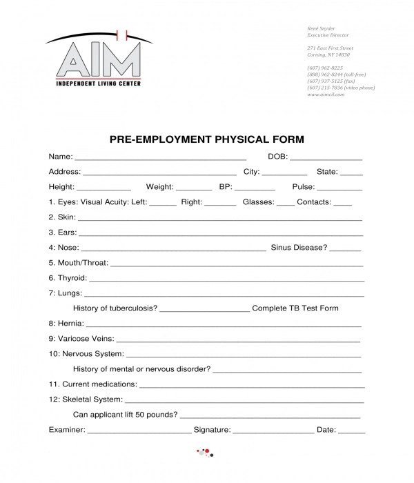 10+ Generic Pre-Employment Physical Forms - PDF