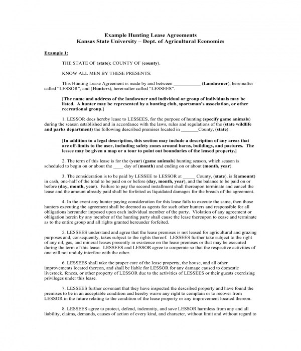 5+ Hunting Lease Agreement Forms - PDF, DOC