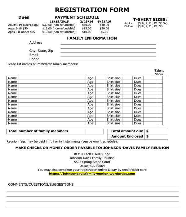 4+ Family Reunion Registration Forms - PDF