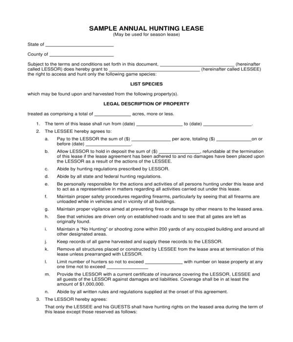 10+ Hunting Lease Agreement Forms - PDF