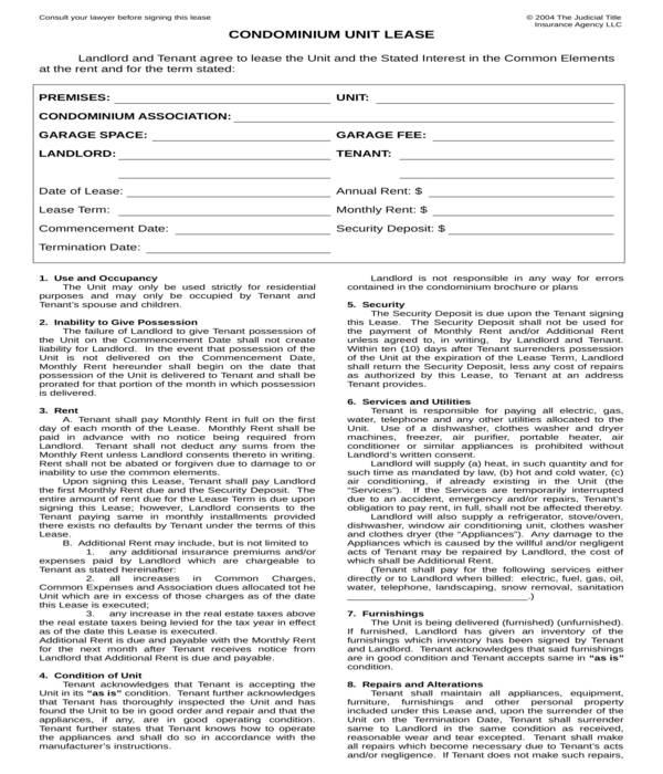 10+ Condominium Lease Agreement Forms - PDF, DOC