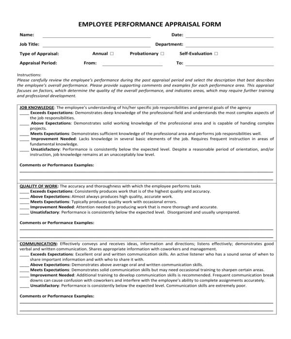 8+ Performance Appraisal Forms - PDF, DOC, XLS