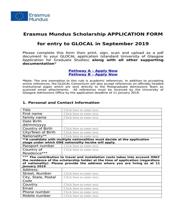 8+ Scholarship Application Forms - PDF, DOC