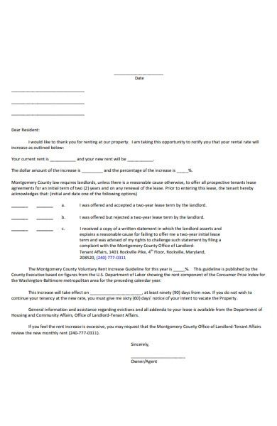 rent increase letter