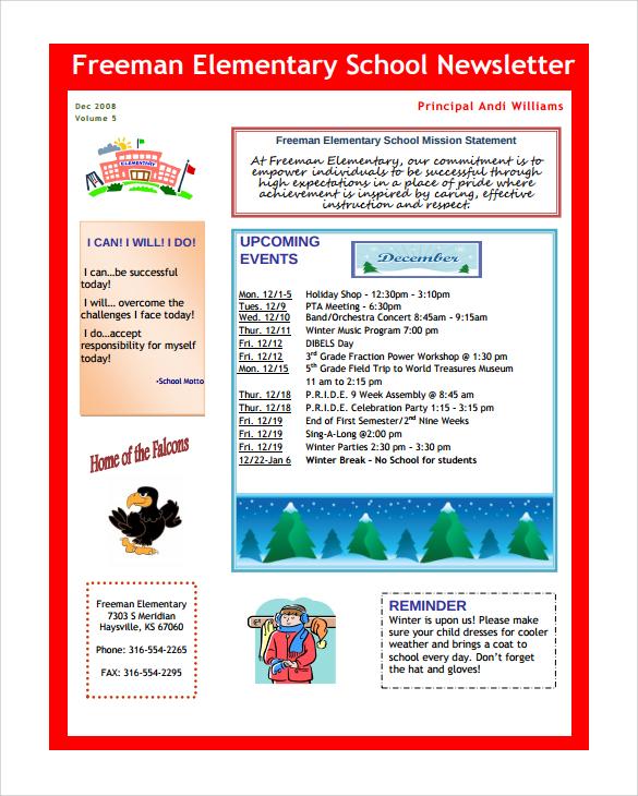 9 Best School Newsletter Templates to Download Sample Templates - sample of school newsletters