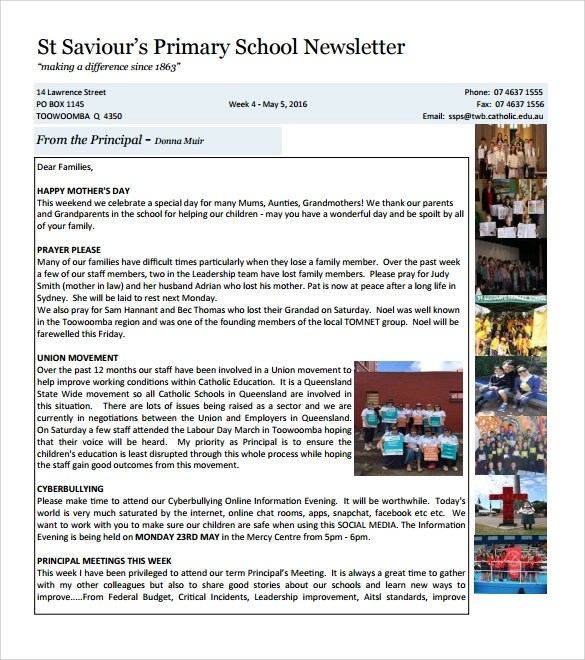 9 Best School Newsletter Templates to Download Sample Templates