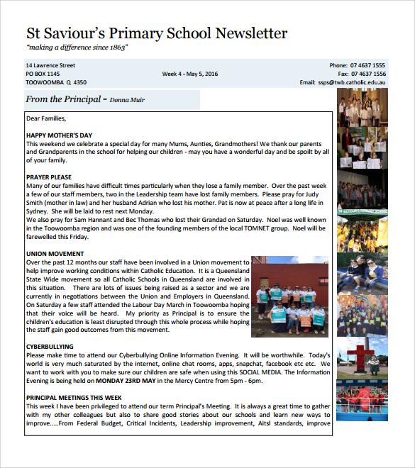 9 Best School Newsletter Templates to Download Sample Templates - newsletter sample templates