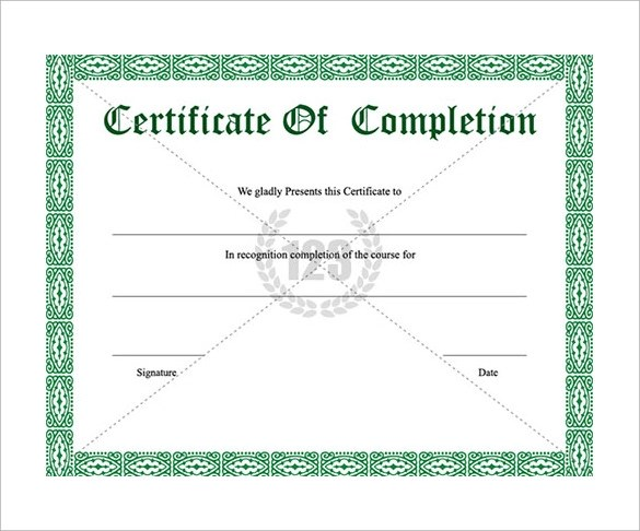 Sample Certificate Of Completion Template Our Author Has Been - sample certificate templates
