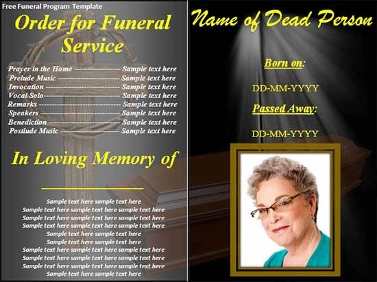 free funeral program card templates - free template for funeral program