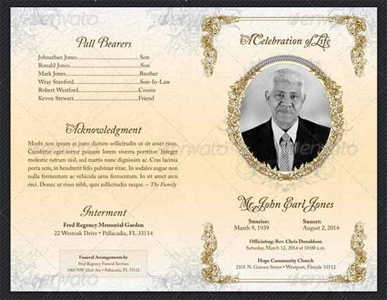 Free Funeral Program Template | Cyberuse