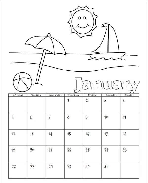 15 Sample Calendar Templates for Kindergarten Sample Templates