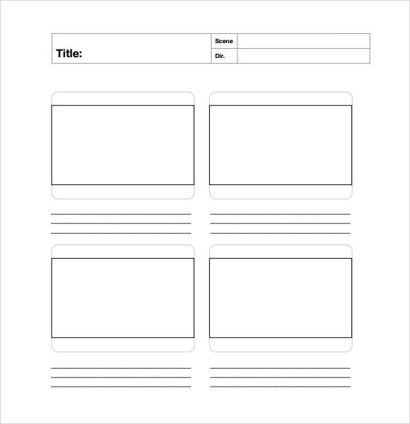 blank storyboard template word
