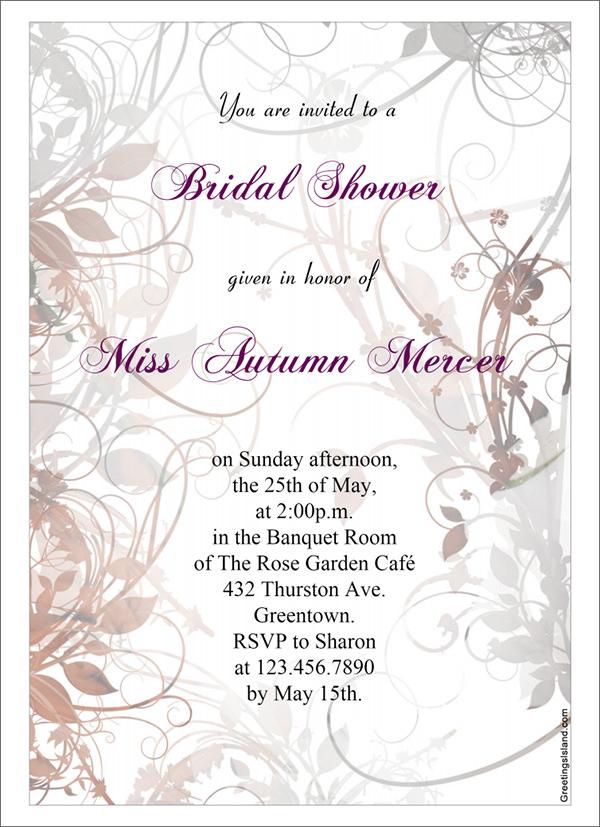 sample bridal shower invitations
