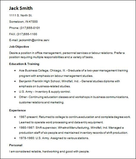 example resume for events