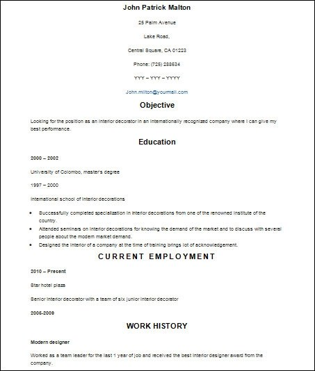Sample Basic Resume - 21+ Documents in Word