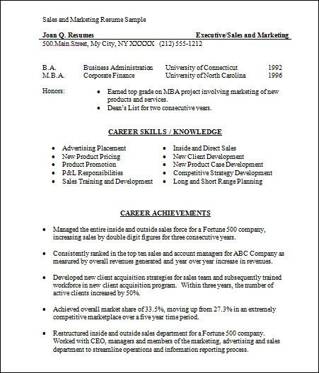 basic sales resume examples