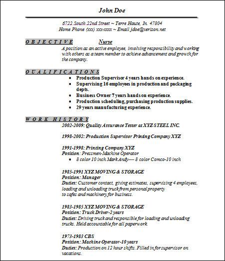 resume template nurse free