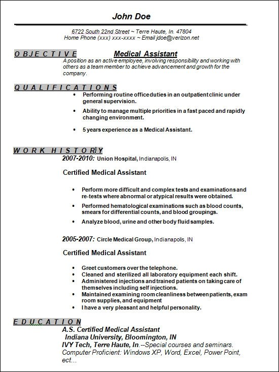 Resume Templates For Medical Assistant Entry Level Medical - resume objective for medical field