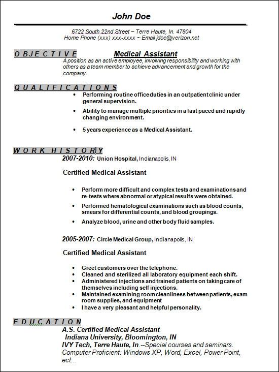 resume examples for medical assistance