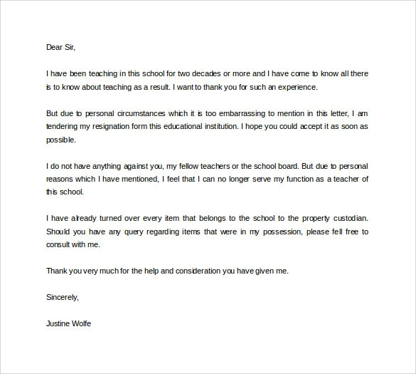 Formal Resignation Letter - 40+ Download Free Documents in Word, PDF - teacher resignation letter