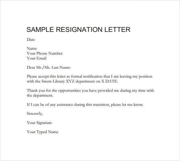 Resignation Letter Sample Template Pdf – Resignation Letter Free