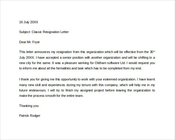 Best Resignation Letter Examples Make Money Personal Formal Resignation Letter 16 Download Free Documents In