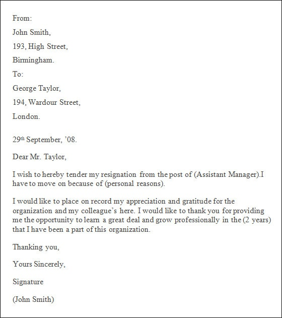 professional resignation letter pdf - Selol-ink