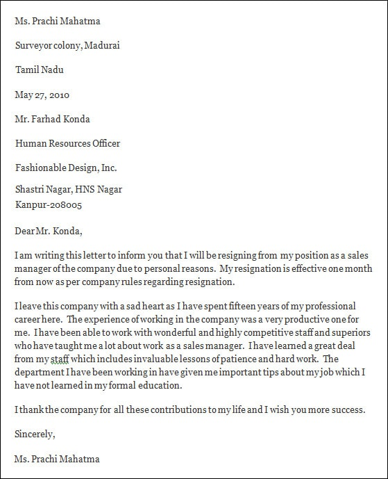 5+ Professional Resignation Letter \u2013 PDF, DOC Sample Templates