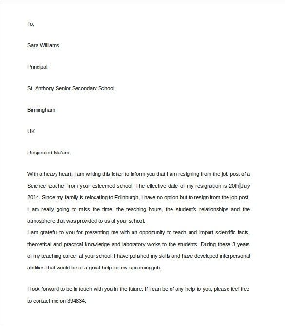 resignation letter examples teacher teacher resignation letter templates and examples teacher resignation letter 8 download documents