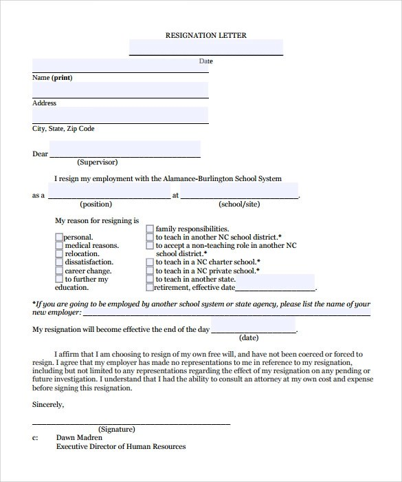 Teacher Resignation Letter - 10+ Download Documents in PDF , Word