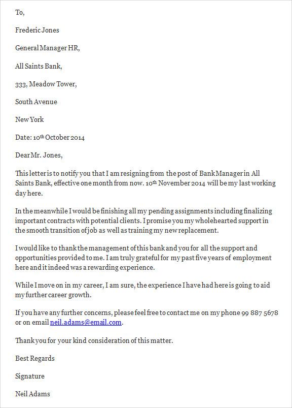 15+ Job Resignation Letter Templates Sample Templates - job resignation letter