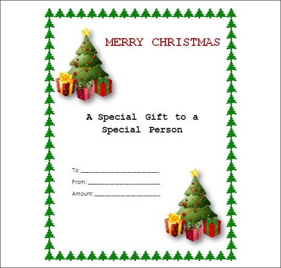christmas blank gift certificate template free - Rainforest - blank gift certificates templates