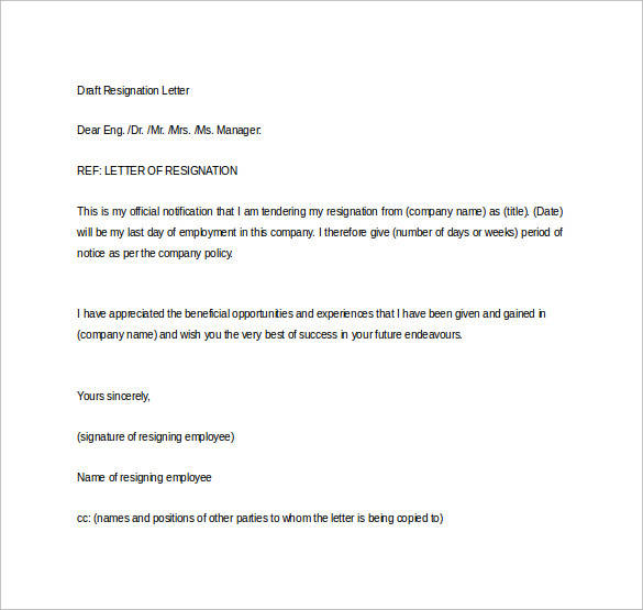 Resignation Letter Sample Formal Resignation Letter 40 Download Free Documents In
